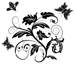 abstract flower with bee and butterfly element for design stock