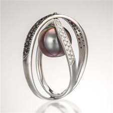 pearl rings diamonds images Pearl ring with black and white diamonds in 18k white gold jpg