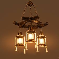Wooden Chandeliers Style Retro Resin Chandeliers Bars Restaurants Tea Houses