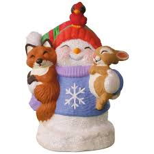 snow buddies 20th anniversary snowman fox and squirrel ornament