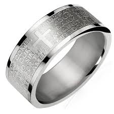 ring men stainless steel lord s prayer 8mm band ring