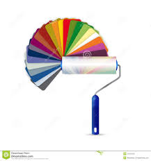 Paint Pallet by Paint Roller And Color Pallet Illustration Design Stock Photos