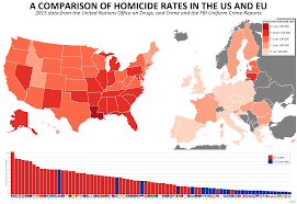 Oakland Crime Map Homicide Rates Of Us And Eu States 2806x1932 Oc Mapporn