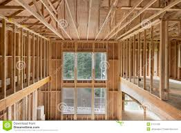 new construction home high ceiling wood stud framing royalty free