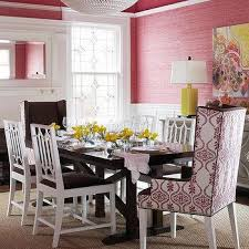 dining room pink and yellow abstract art design ideas