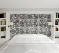 modern built in bookcases bedroom transitional with greek key
