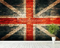 union jack on old brick wallpaper wall mural wallsauce