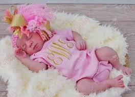 monogram baby items light pink sparkle gold glitter monogrammed onesie