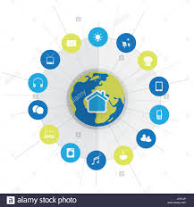 eco friendly smart home design concept with icons cloud
