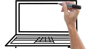 man sketching laptop on whiteboard background animated sketch of