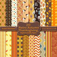retro scrapbook paper pack 20 yellow brown orange printable