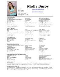 musical theatre resume exles 2 resume krida info
