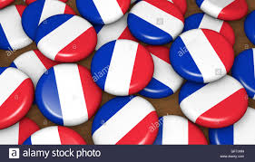 french flag on badges background for france national day events