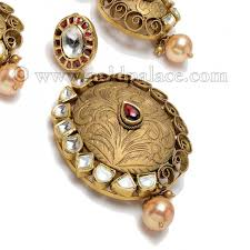 antique necklace set images 22 kt pendant set with pearl antique gold palace jewelers inc jpg