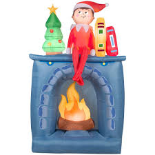 gemmy 6 5 ft h inflatable scout elf on fireplace 36995 the home