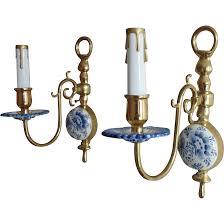 Delft Chandelier Rare Pair Antique Delft Wall Sconces Lamps Holland Blue U0026 White