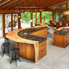 Kitchen Island Bar Designs by Large Curved Kitchen Island With Breakfast Bar Plus Swivel Stools