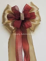 burgundy wired ribbon gold marsala wedding pew bow marsala and gold wedding ceremony