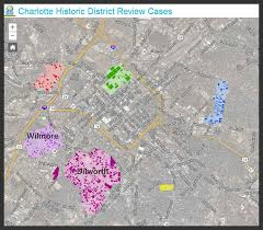 Map Of Charlotte Charlotte Historic District Commission