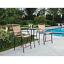 Comfortable Patio Furniture Amazon Com 3 Pc High Top Bistro Table Chairs Set Slingback