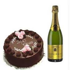 buy cake and champagne birthday gift for her online best