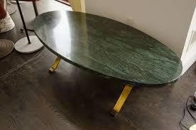 Oval Marble Coffee Table Delectable Oval Marble Top Coffee Table On Wooden Hair Pin Legs At