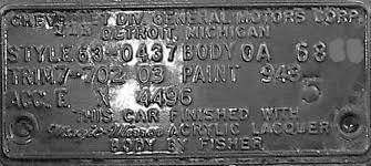 1963 chevy body plate data