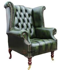 chesterfield dorchester high back wing chair antique green leather