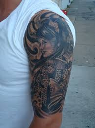 wonderful half sleeve geisha tattoo for men tattoos for men