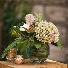 Hydrangea Centerpiece Protea And Hydrangea Centerpiece Stacy K Floral Rochester