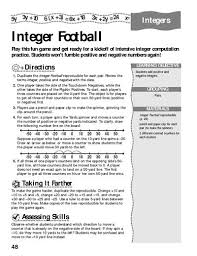 integer football fun worksheets and worksheets