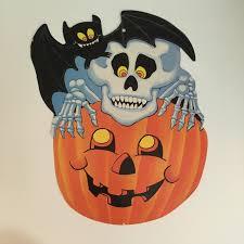 vintage halloween pumpkin decoration skeleton skull bat jack o