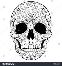 Day Of The Dead White Day Dead Sugar Skull Doodle Ornament Stock Vector 325779344