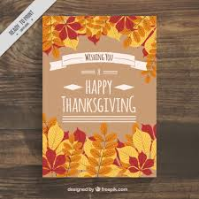 poster with leaves for thanksgiving day vector free