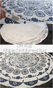 turning a table cloth in to a rug a diy anthropologie rug dream