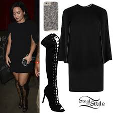 demi lovato cape dress lace up boots steal her style