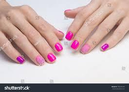 amazing manicure natural nails gel polish stock photo 550256749
