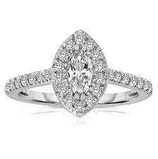 marquise cut engagement rings half carat marquise cut halo engagement ring in white gold