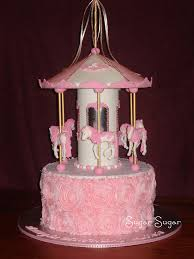 carousel cake topper pink and white carousel cake this cake for a 1st birthday flickr