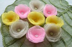 Flowers For Crafts - water lilies floral embellishments organza sew on flower