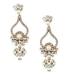 Ralph Lauren Chandelier Fashion Earrings Belle Badgley Mischka Faux Pearl Rhinestone Chandelier Statement