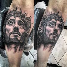 cool watercolor jesus leg tattoos for males tatuagem jesus