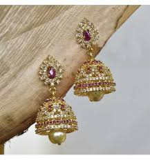 gold earrings for marriage gorgeous american diamond small ruby studded designer one gram