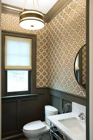 Powder Room Photos - white and gray powder room with wainscoting transitional bathroom