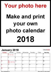 photo calendar 2018 free printable pdf templates