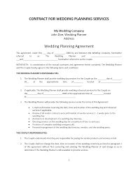 wedding event coordinator planner contract template