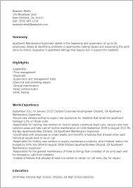Electrical Supervisor Resume Sample Professional Apartment Maintenance Supervisor Templates To