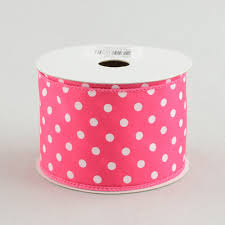 pink polka dot ribbon 2 5 white small polka dot ribbon hot pink 10 yards rg100211