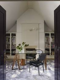 Elle Decor Home Office Transitional Home Office With Wood Desk And Gallery Walls Featured