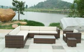 Rattan Settee Exterior Fancy Design Ideas Using L Shaped Brown Rattan Sofas